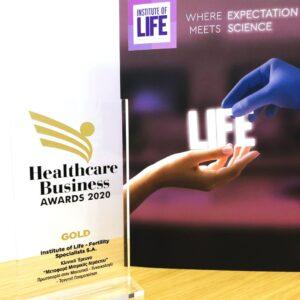 Χρυσό βραβείο Healthcare Awards 2020 Iolife αφίσα INSTITUTE OF LIFE WHERE EXPECTATION MEETS SCIENCE